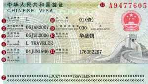 A typical Chinese visa, not too different from the one I received last year.