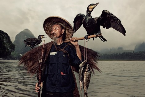 Cormorant fishing in China.  The fisherman keeps a cord tied around the bird`s neck so that it doesn`t eat the fish that it dove in the water to catch.