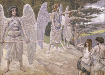 Adam and Eve driven from Paradise. - by James Tissot