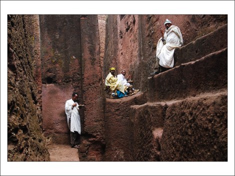 Ethiopian Orthodox priests among the small streets and hidden corners of the Lalibela churches.