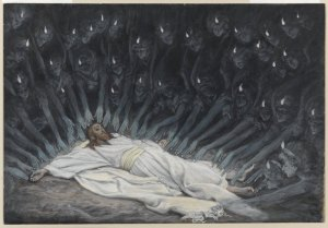 """Angels attend to Jesus after He fasts and prays in the wilderness.  -  """"Jesus assiste par les anges"""" by James Tissot."""
