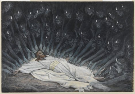 "Angels attend to Jesus after He fasts and prays in the wilderness.  -  ""Jesus assiste par les anges"" by James Tissot."