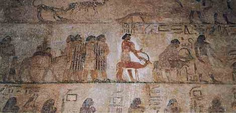Wall painting from Beni Hasan, Egypt.  The Hyksos, an Asiatic/Semitic people, enter Egypt.  The Hebrews were also Semitic.