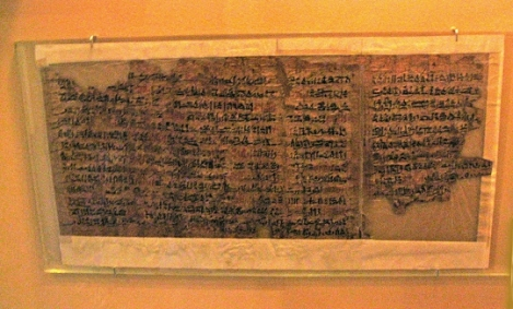 The Ipuwer Papyrus, located at the National Archaeological Museum in Leiden, Netherlands.