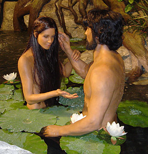 A life model depiction of Adam and Eve from the Creation Museum, Petersburg Kentucky.