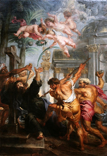 """""""Martyrdom of Saint Thomas"""" by Peter Paul Rubens.  Tradition says he was allowed to pray before being speared."""
