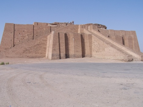 """Reconstruction of the  """"Ziggurat of Ur"""".  Ziggurats were ancient Mesopotamian towers built to guide one's steps to the gods.  Babel may have been an early version of these."""