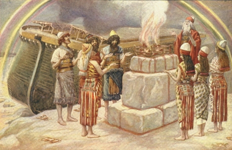 """Noah and his family offering a sacrifice to God after exiting the Ark.   """"Noah's Sacrifice""""- James Tissot, 1896-1902"""
