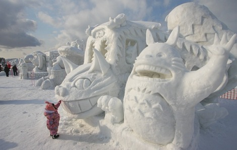 """""""My Neighbor Totoro"""" characters sculpted from snow in Hokkaido's annual snow festival."""