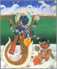 Indian story telling of a fish god who told the first man, manu, to prepare for a flood.