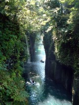 Takachiho gorge in Miyazaki, Kyushu.  Boats can be rented to explore the safe and beautiful waters.