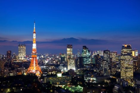 Tokyo at night, with Tokyo tower in view at the left.