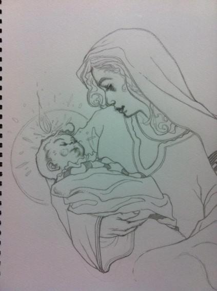 One of my conceptual sketches of Mary and baby Jesus.  Pencil.