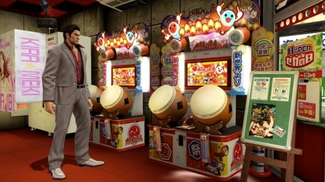 """A bit of meta-humor to make your head spin.  One of the neighborhood arcades found in the popular sega game """"Yakuza"""" allows you to play the Taiko Drum Master."""