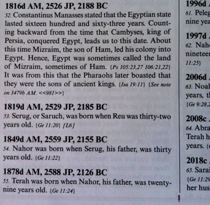 Ussher's meticulous dating system utilizes the Anno Domini style (modern) as well as the ancient Julian calendar for each entry.