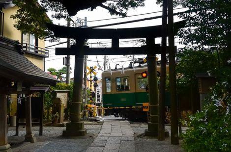 Passing a shrine.
